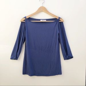 Bailey 44 blue 3/4 sleeve open arms top S
